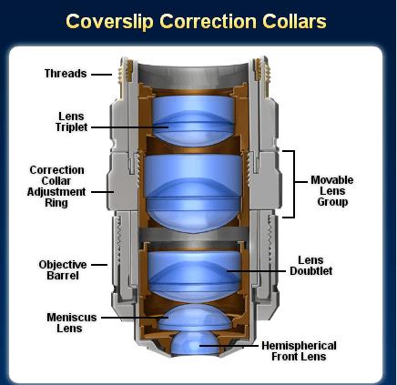 奥林巴斯显微镜物镜盖玻片校正
